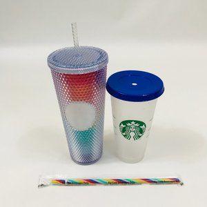 Starbucks Rainbow Tumbler Confetti Cup Bundle